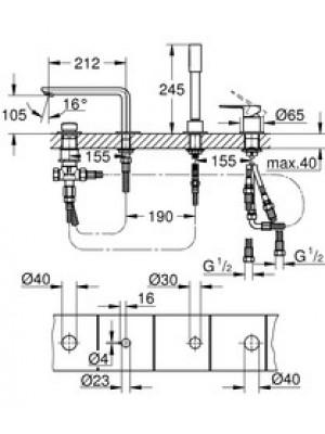 Grohe Lineare New 4 Delikli Küvet Bataryası