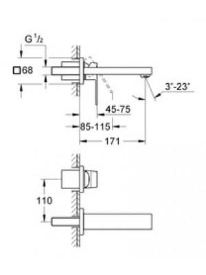 Grohe Eurocube Duvardan Lavabo Bataryası S-Boyut