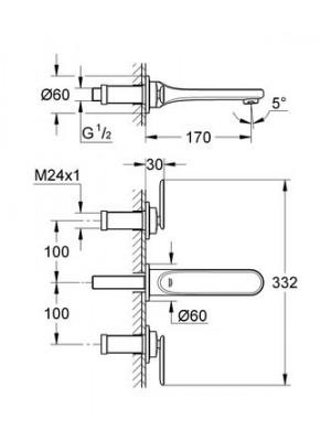 Grohe Veris 3 delikli Lavabo Bataryası S-Boyut