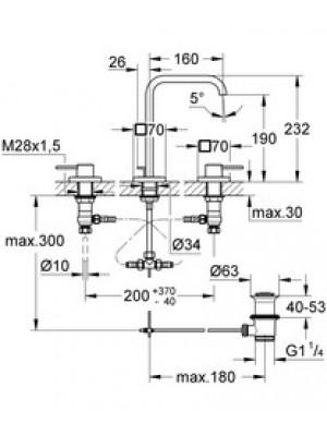 Grohe Allure 3 Delikli Lavabo Bataryası M-Boyut