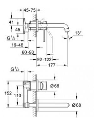 GROHE BauClassic Duvardan Lavabo Bataryası