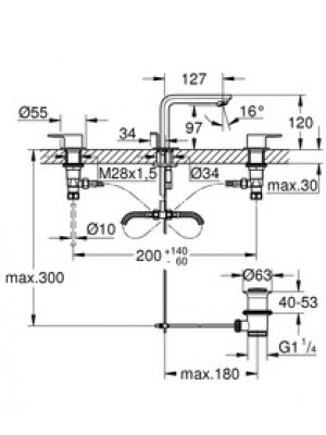Grohe Lineare 3 Delikli Lavabo Bataryası M-Boyut