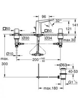 Grohe Allure Brilliant 3 Delikli Lavabo Bataryası S-Boyut