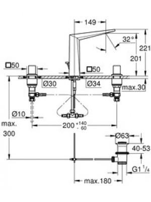 Grohe Allure Brilliant 3 Delikli Lavabo Bataryası M-Boyut