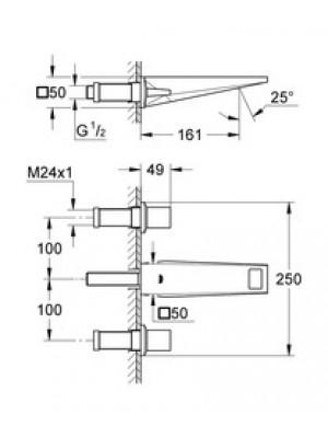 Grohe Allure Brilliant Ankastre 3 Delikli Lavabo Bataryası S-Boyut