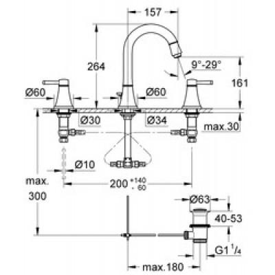 Grohe Grandera 3 Delikli Lavabo Bataryası M-Boyut Krom/Altın