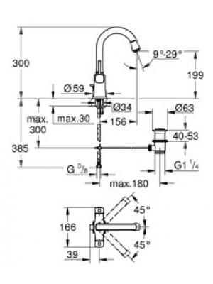 Grohe Grandera Tek Delikli Lavabo Bataryası L-Boyut Krom/Altın