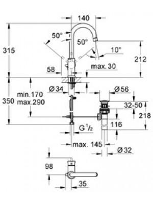 GROHE BauClassic Lavabo Bataryası
