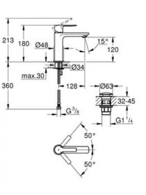 Grohe Lineare Lavabo Bataryası S-Boyut