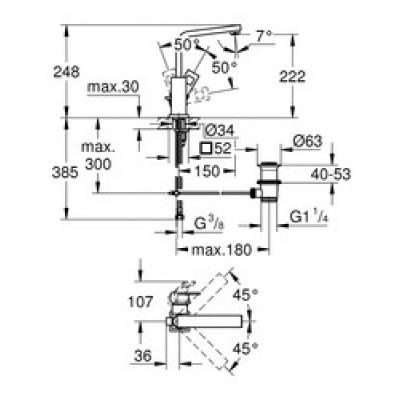 Grohe Eurocube Lavabo Bataryası L-Boyut