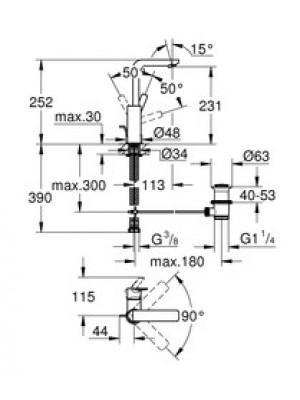 Grohe Lineare New Lavabo Bataryası L-Boyut