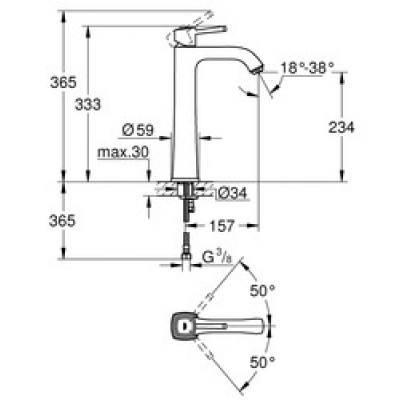 Grohe Grandera Lavabo Bataryası XL-Boyut