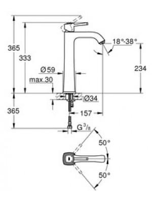 Grohe Grandera Lavabo Bataryası XL-Boyut Krom/Altın