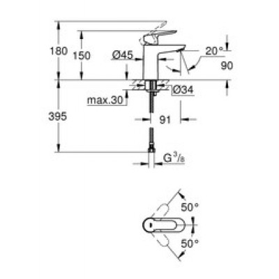 Grohe BauEdge Lavabo Bataryası S-Boyut