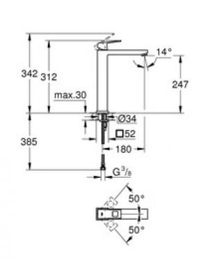 Grohe Eurocube Lavabo Bataryası XL-Boyut