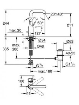Grohe Essence New Lavabo Bataryası L-Boyut