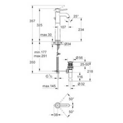 GROHE Bauclassic Tek Kumandalı Çanak Lavabo Bataryası