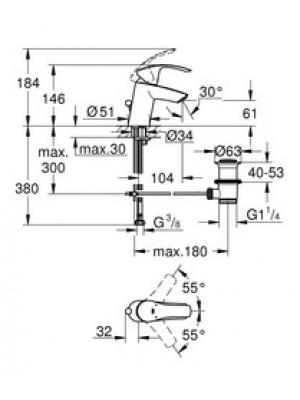 GROHE Eurosmart Lavabo Bataryası S-Boyut