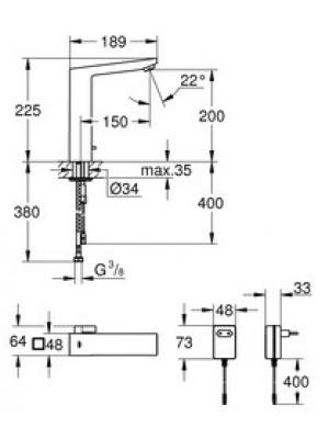 Grohe Eurocube E Fotoselli Lavabo Bataryası Elektrikli