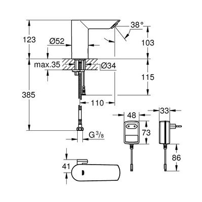 GROHE Bau Cosmopolitan Elektronik Lavabo Bataryası Elektrikli