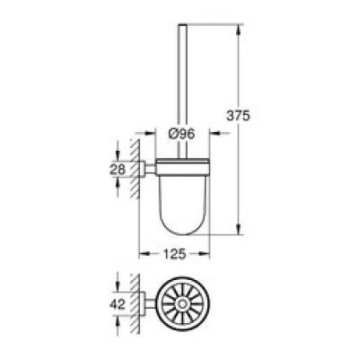 GROHE Essentials Cube Tuvalet Fırçası Seti
